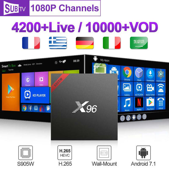France Arabic SUBTV Code 1 Year X96W Android 7.1 Smart Box  Netherlands Spain Belgium French  Top Box