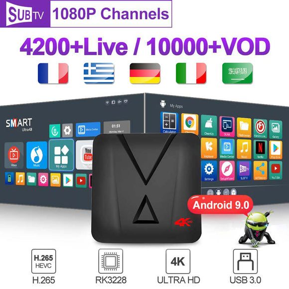 France Italy SUBTV Subscription MX10 Mini Android 9.0 Smart box 2G 16G 1 year Code Spain Arabic Germany UK