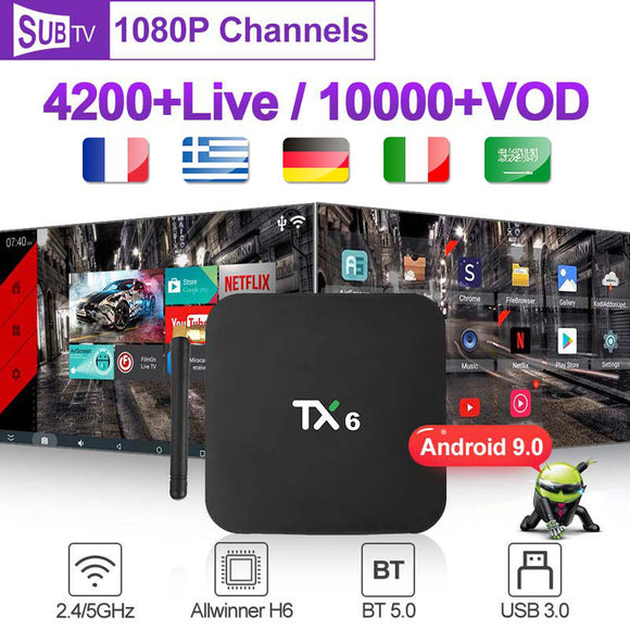 France Box TX6 Android 9.0 4G+32G 4GB+64GB with 1 Year SUBTV Subscription Code French Arabic Belgium Portugal Turkey