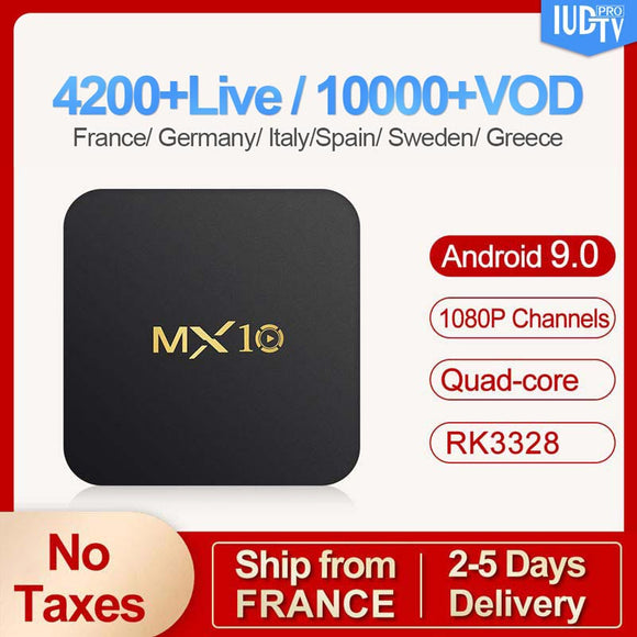4G 64G MX10 RK3328 Android 9.0 TV Box H.265 4K Media Player 1 Year IUDTV Subscription Europe Sweden Italy Spain Box