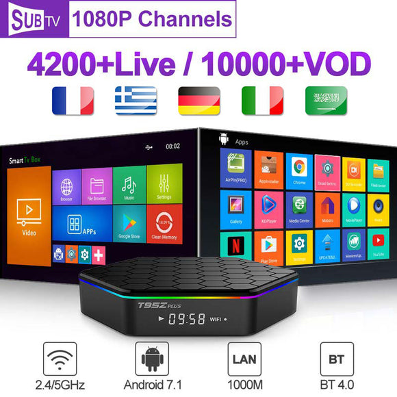 Subscription France Arabic SUBTV T95Z Plus Android 7.1 TV Box Code Belgium France Portugal Turkey Arabic 1 Year