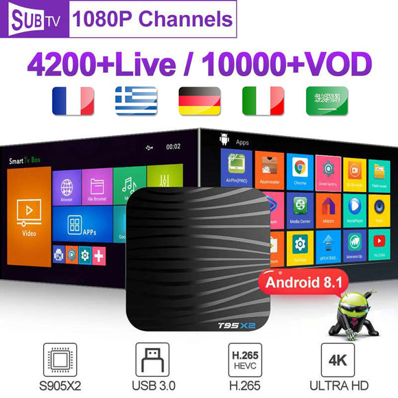SUBTV Android 8.1 4k T95X2 Italy Spain Smart Box Subscription 1 Year Code S905X2 H.265  Portugal Europe