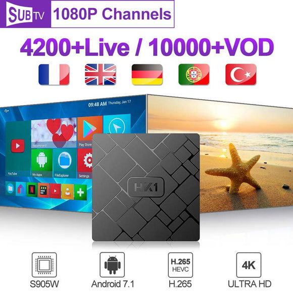 Spain Europe HK1W Android 7.1 French smart Subscription Box SUBTV Code 1 Year 2G 16G Belgium Italy UK Arabic
