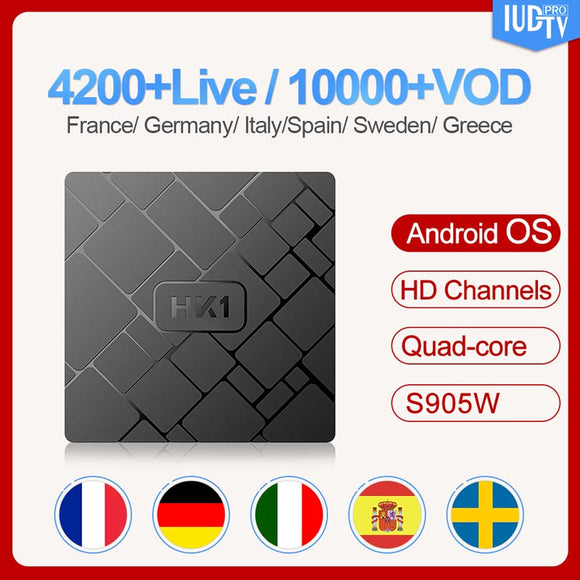 Android HK1W  France Media Player with 1 Year IUDTV Code 2G 16G Arabic Spain Holland Belgium Subscription box