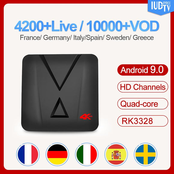MX10 mini Android 9.0 Spain Smart TV box 2G 16G IUDTV 1 year Code Subscription France Greece Turkey Poland box