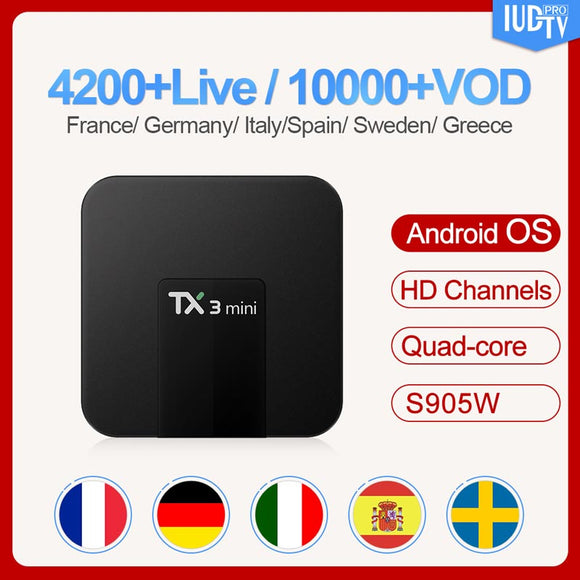 TX3 mini Sweden Arabic  Box Android 7.1 Amlogic S905W 1 Year IUDTV Code Europe Spain Italy Arabic Sweden Top Box