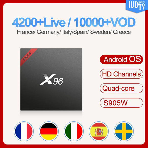IUDTV Subscription 1 Year Swedish Italy UK Germany French Spanish X96 Smart Android 7.1 TV Box Europe Arabic Box