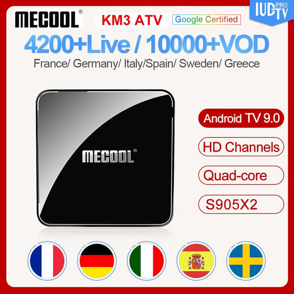Android 9.0 Italy France box with Subscription IUDTV Code 1 Year KM3 4G 64G BT 4.0 Sweden Arabic Spain smart box