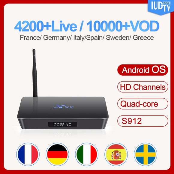 Subscription Nordic Sweden Italy Spain UK Germany Greek Box IUDTV Code X92 Smart 4K Android 7.1 TV Box 2GB+16GB 3GB+32GB S912