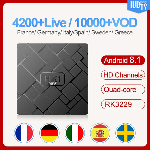Spanish Sweden Android 8.1 Box IUDTV Code 1 Year 2GB 16GB RK3229 2.4G Wifi HK1mini Italy UK Germany Sweden