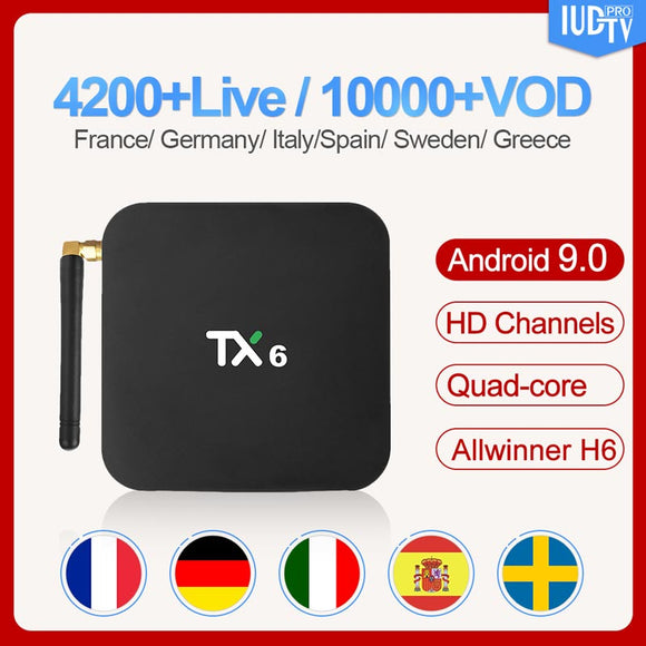 TX6 Swedish Box Android 9.0 4G+32G 4GB+64GB with 1 Year IUDTV Subscription Spanish Italy Sweden Greece Portugal