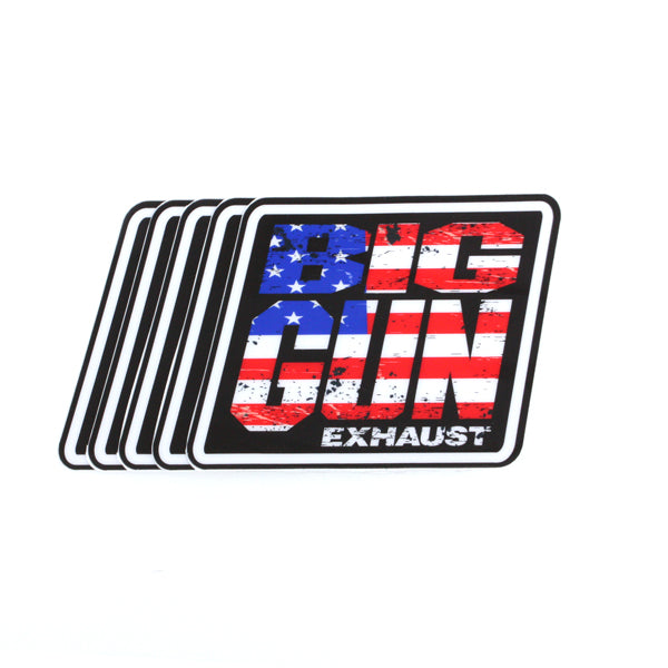 Gear - American Flag Big Gun Exhaust Logo Decal - 5 Pack (4.25