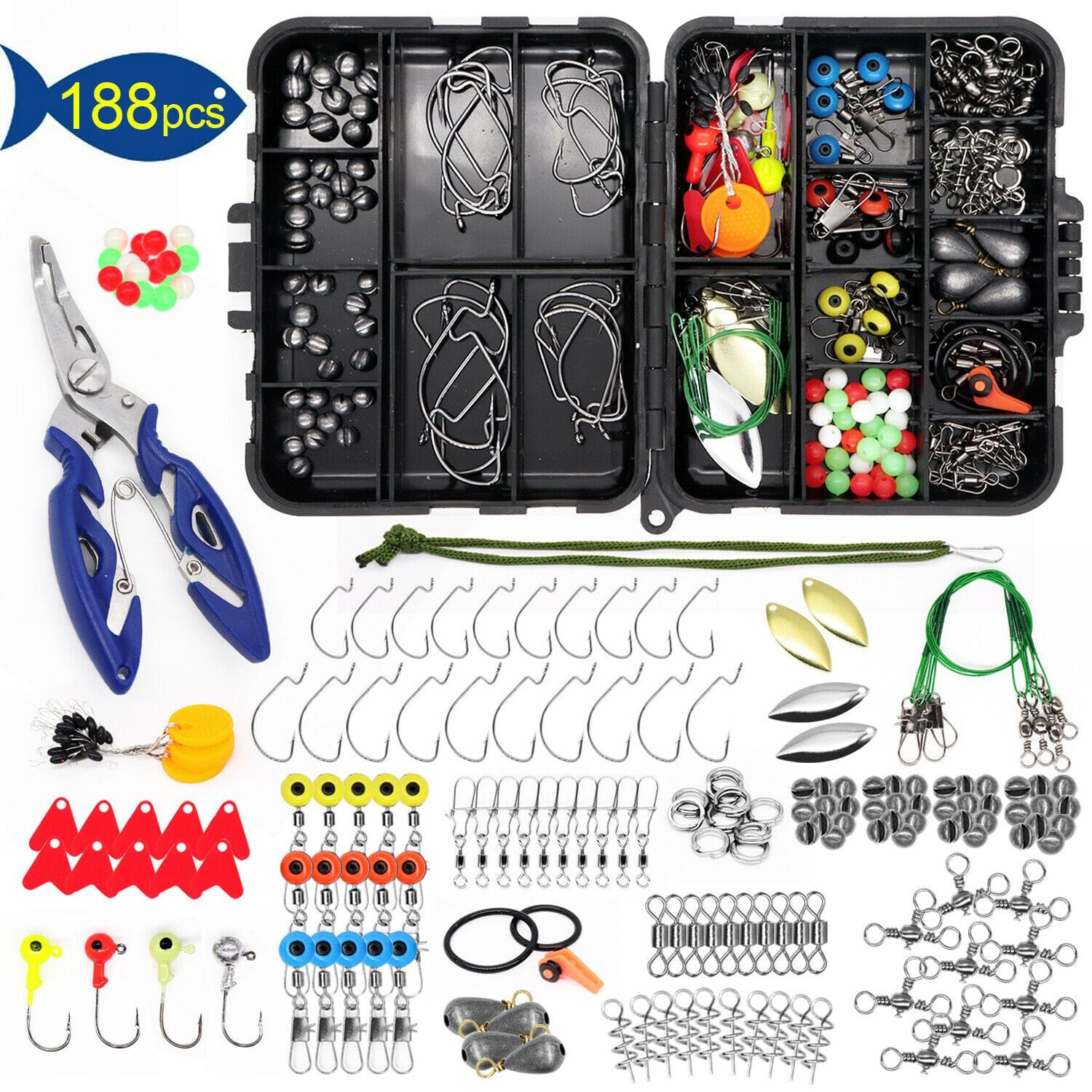 Otterk 188PC Fishing Accessories Kit set with Tackle Box
