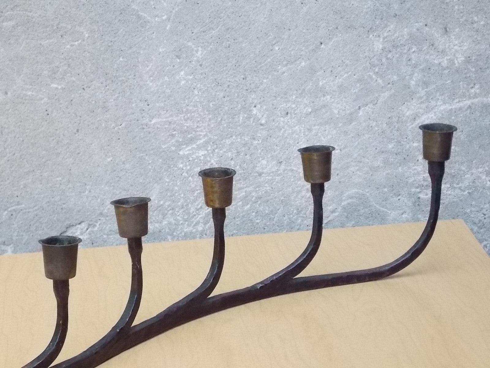 black hand forged wrought iron 7 candle holder rustic