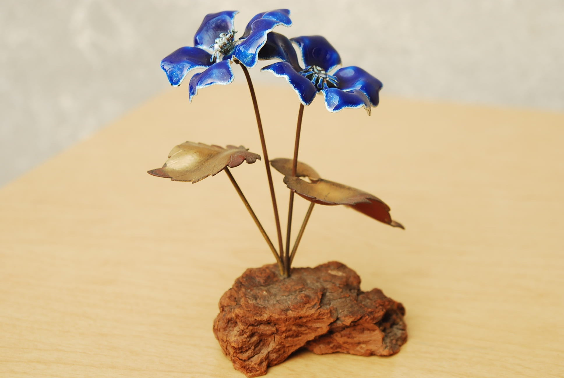 Pair Bovano Copper Flowers with Red & Blue Enamel - I Like Mikes Mid ...