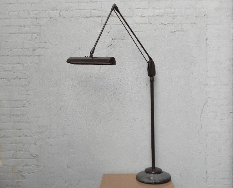 ... Brown Dazor Floating Fixture Single Bulb Fluorescent Floor Lamp Model  #1234 16 ...