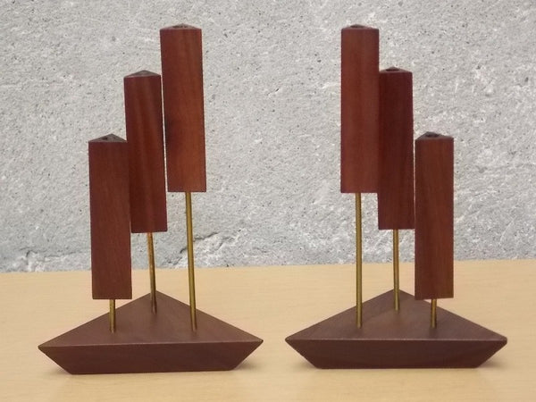 Danish Walnut Triangle 3 Candle Candle Stick Holders I