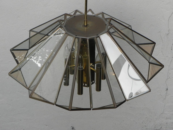 Frederick Ramond Modern Angled Hanging Chandelier With 7