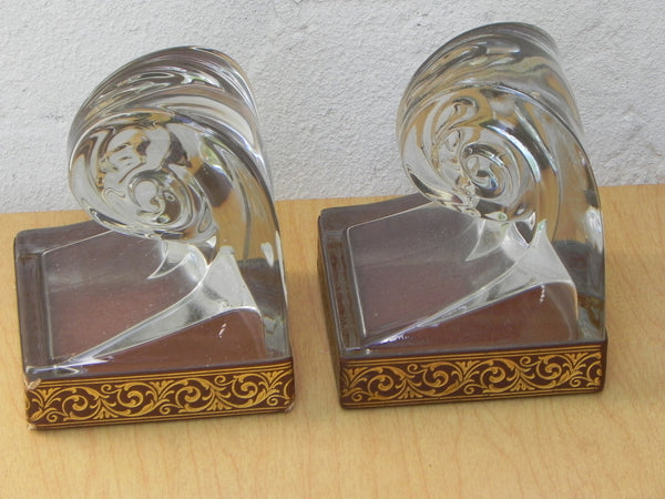 Glass Scroll Bookends With Good Embossed Leather Trim I