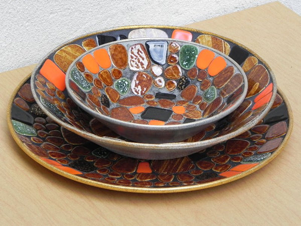 Mosaic Bowl Amp Plate Set Decorative Japanise River Stones