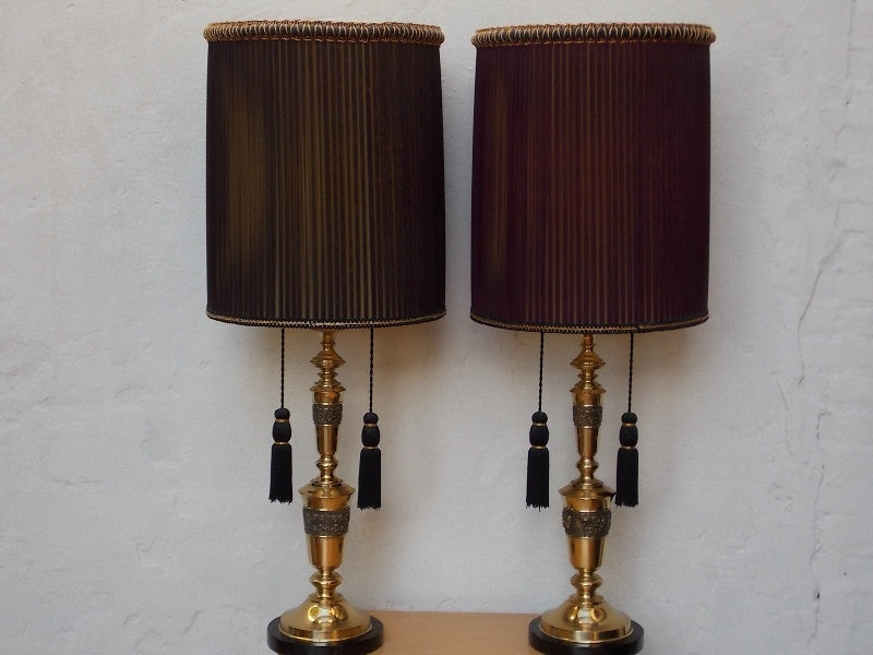 ... Pair Brass Hollywood Regency Table Lamps, Brutalist Style, With  Oversized Original Purple Organza Pleated ...