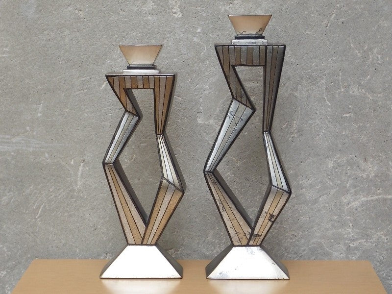 Awesome ... Pair Contemporary Large Metallic Ceramic Candle Holders By Artmax ...