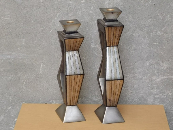 Pair Contemporary Large Metallic Ceramic Candle Holders By