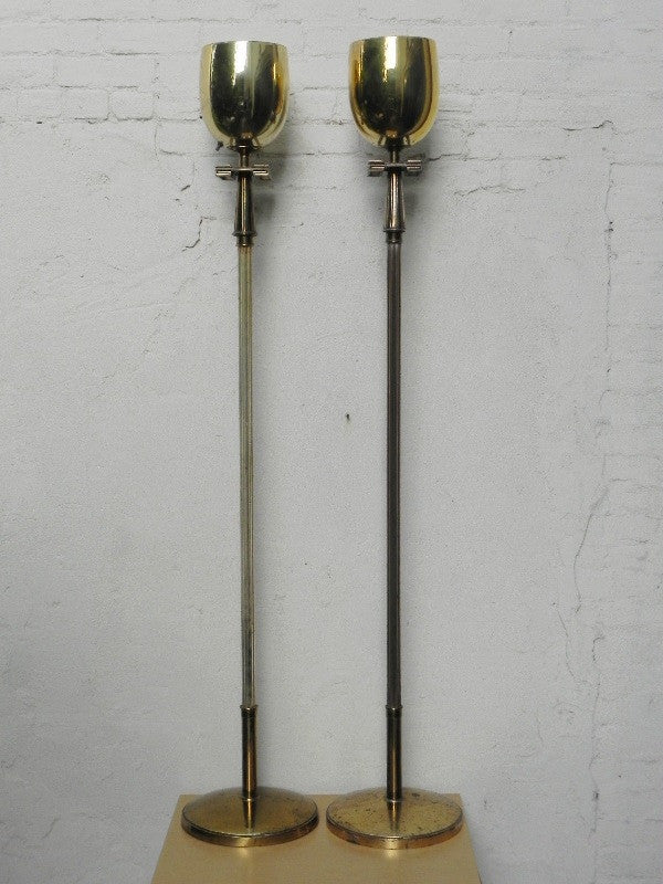 Pair Deco Regency Solid Brass Torchiere Floor Lamps in the Style ...