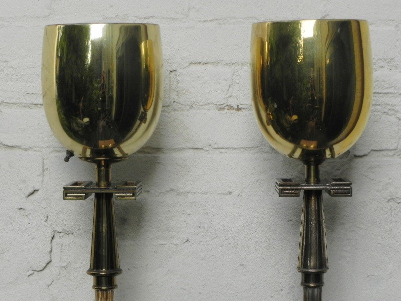 Pair Deco Regency Solid Brass Torchiere Floor Lamps in the style of Tommi Parzinger
