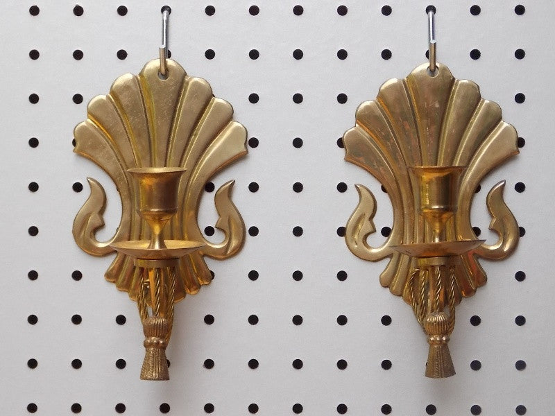 pair regency brass wall candle sconces by century