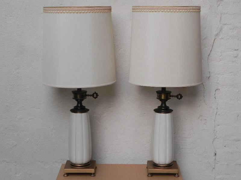 Original Lamps pair stiffel white ceramic cast brass heavy lamps with original