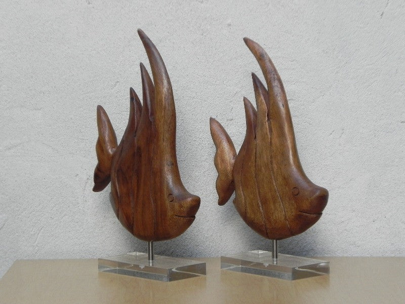... Pair Wood Fish On Lucite Bases, Mid Century Table Sculptures ...
