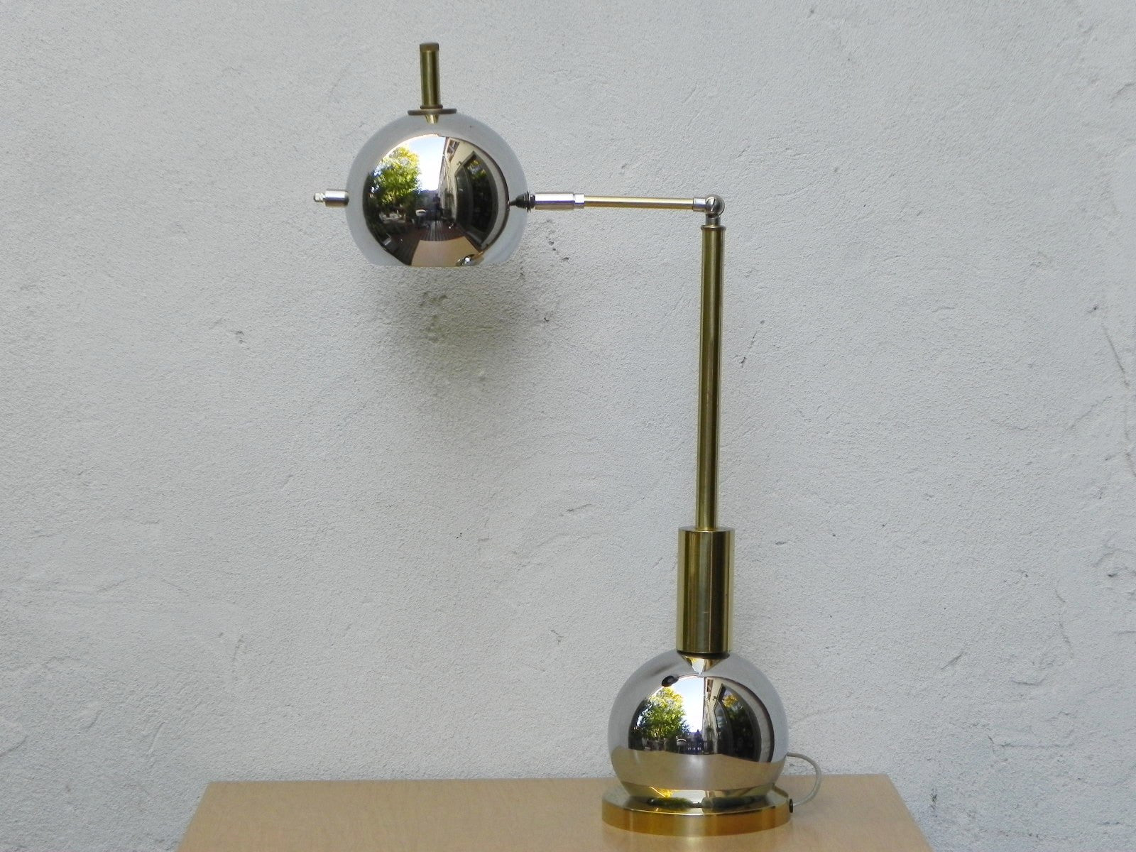 ... Chrome Ball U0026 Brass Desk Lamp, Re Crafted ...