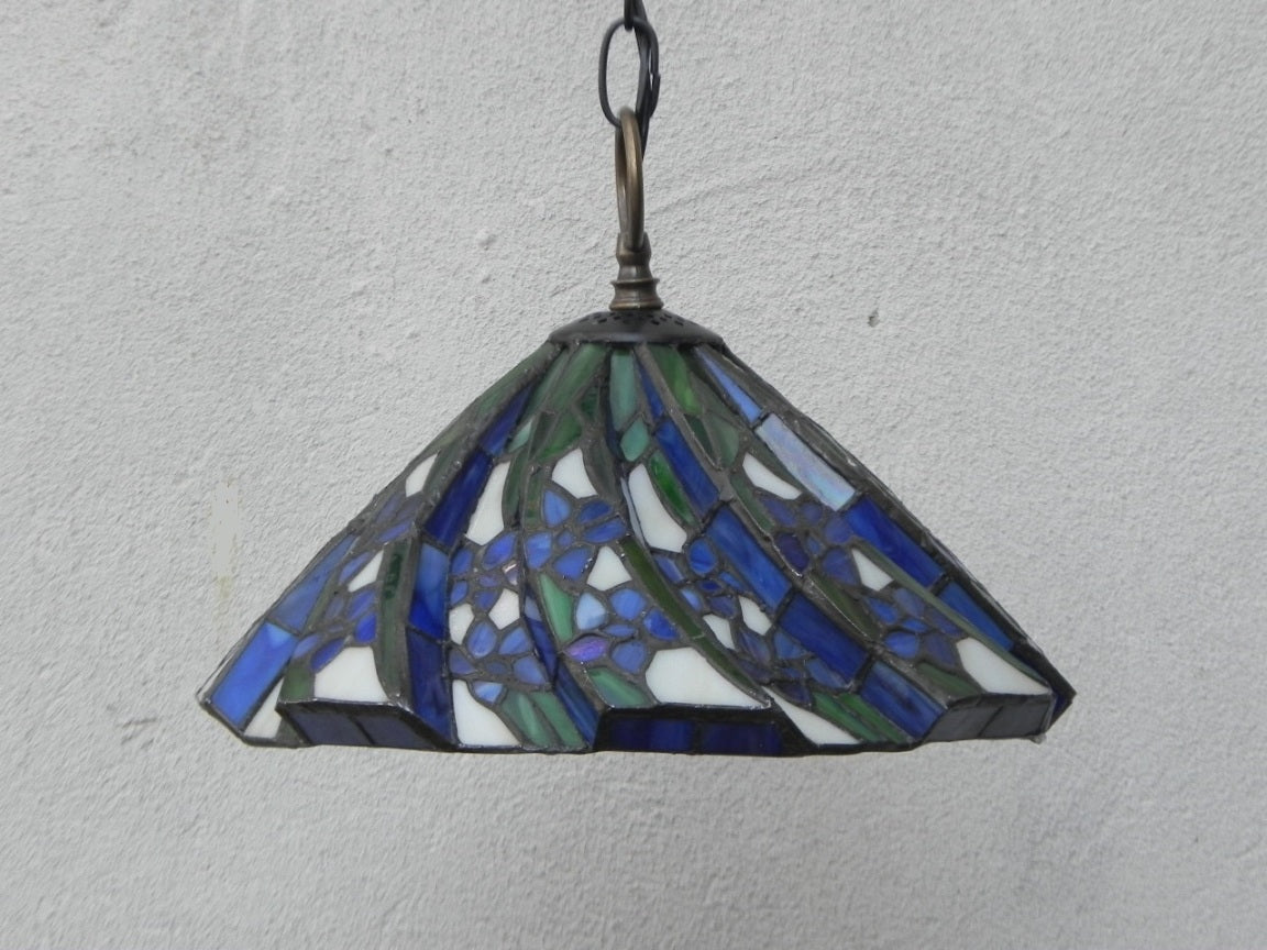 Small Blue Black White Tiffany Style Stained Glass Pendant Lamp I Like Mikes Mid Century Modern