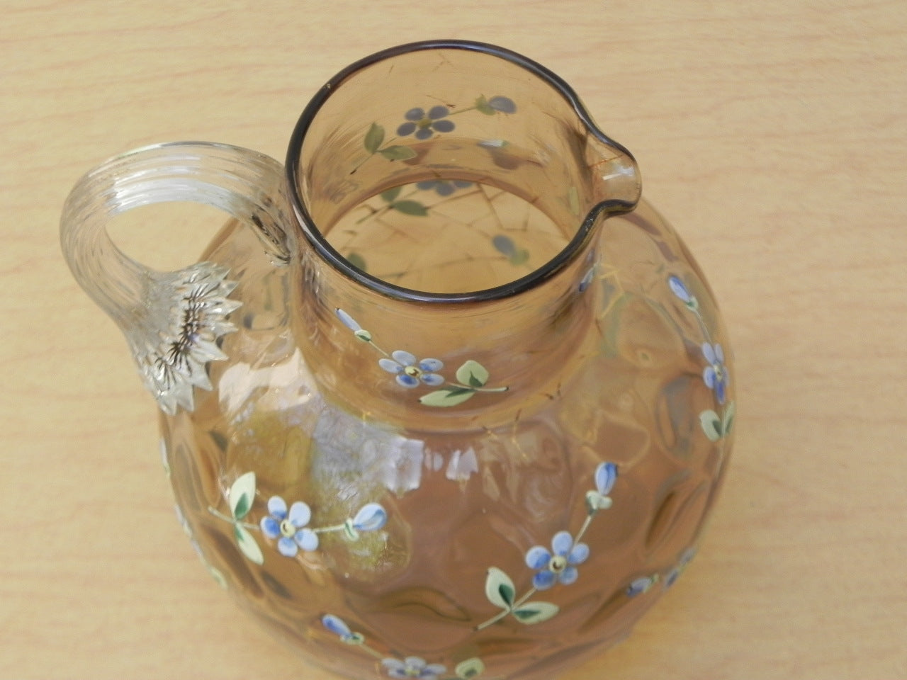 ... Small Round Honeycomb Glass Pitcher With Hand Painted Blue Flowers ...