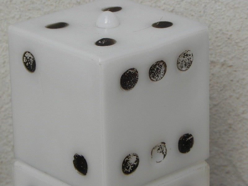 Small Vintage Dice Glass Dresser Lamps In Black And White