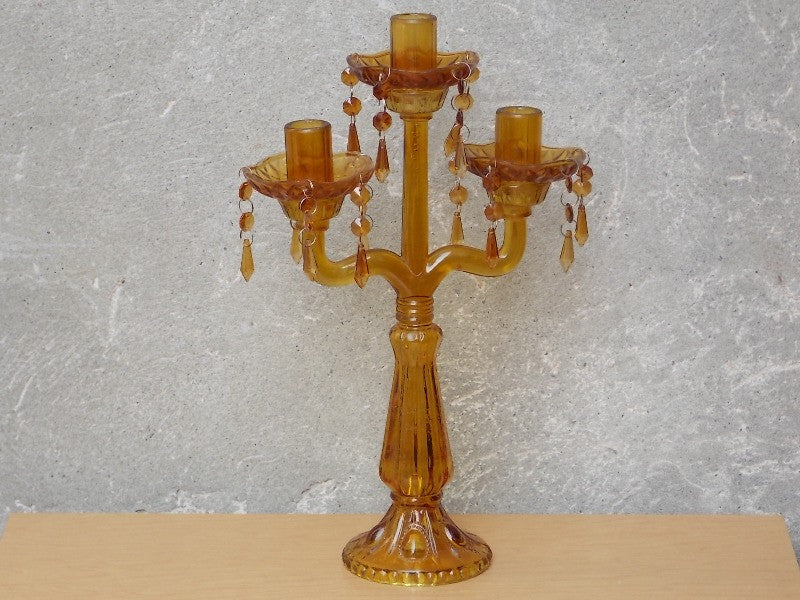 ... Tall Amber Glass Chandelier Table Candelabra ...
