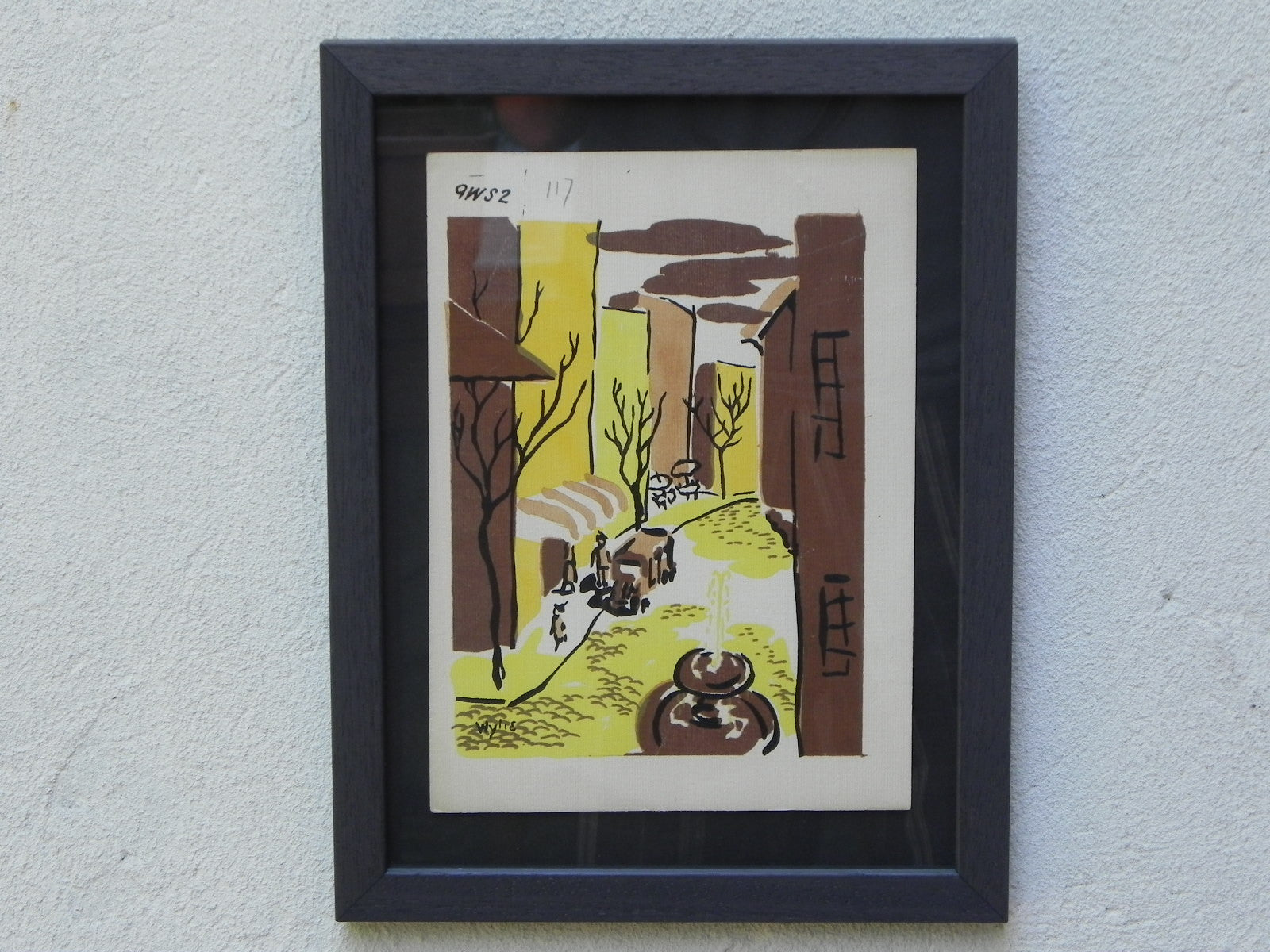 mid-century lithographwylie newly framed-street scene with