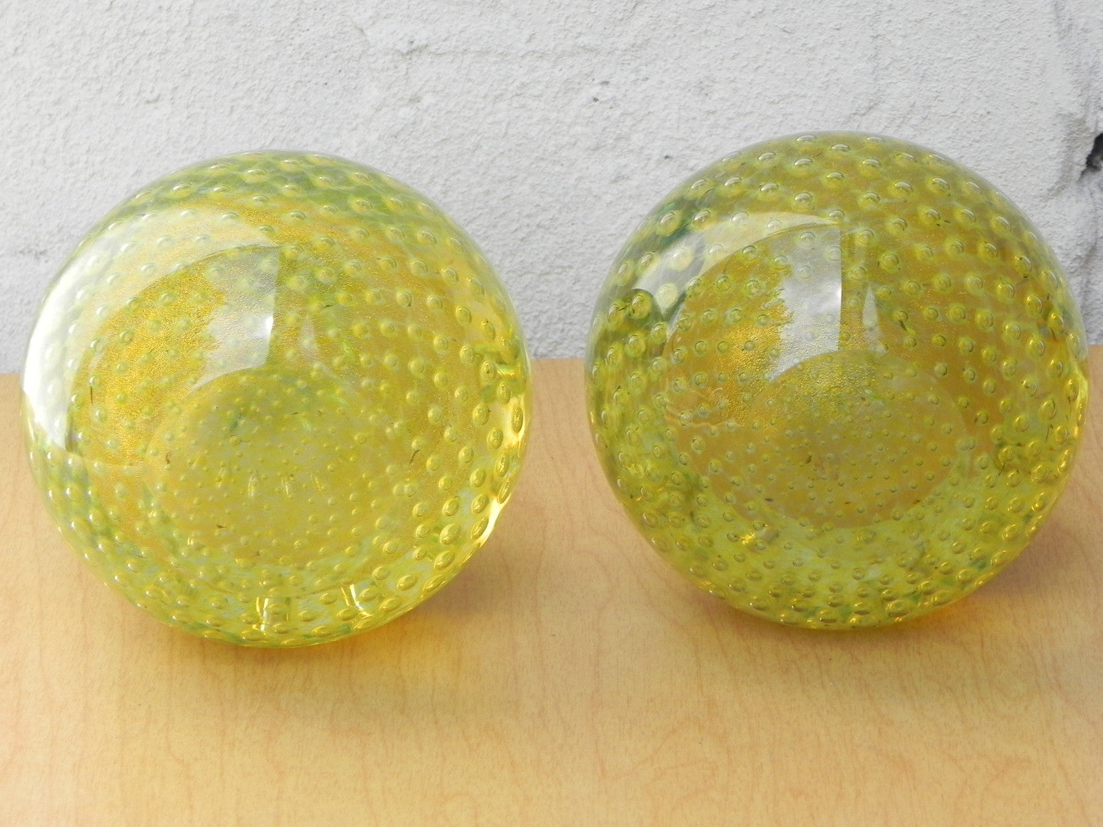 Murano Art Glass Yellow Fruit Bubble Glass Bookends - I Like Mikes ...