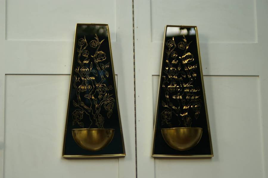 Pair Glass And Metal Black Gold Wall Sconces I Like Mikes Mid