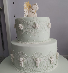 Baptism Cake with Angels Cake