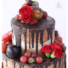 Load image into Gallery viewer, Fresh Flowers and Fruit Naked Cake