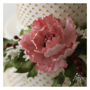 Pretty Peonies Wedding Cake