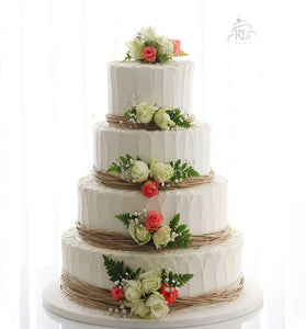 Rustic Tiers with Fresh Flowers Cake