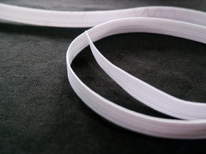 12mm braided elastic, per meter, white