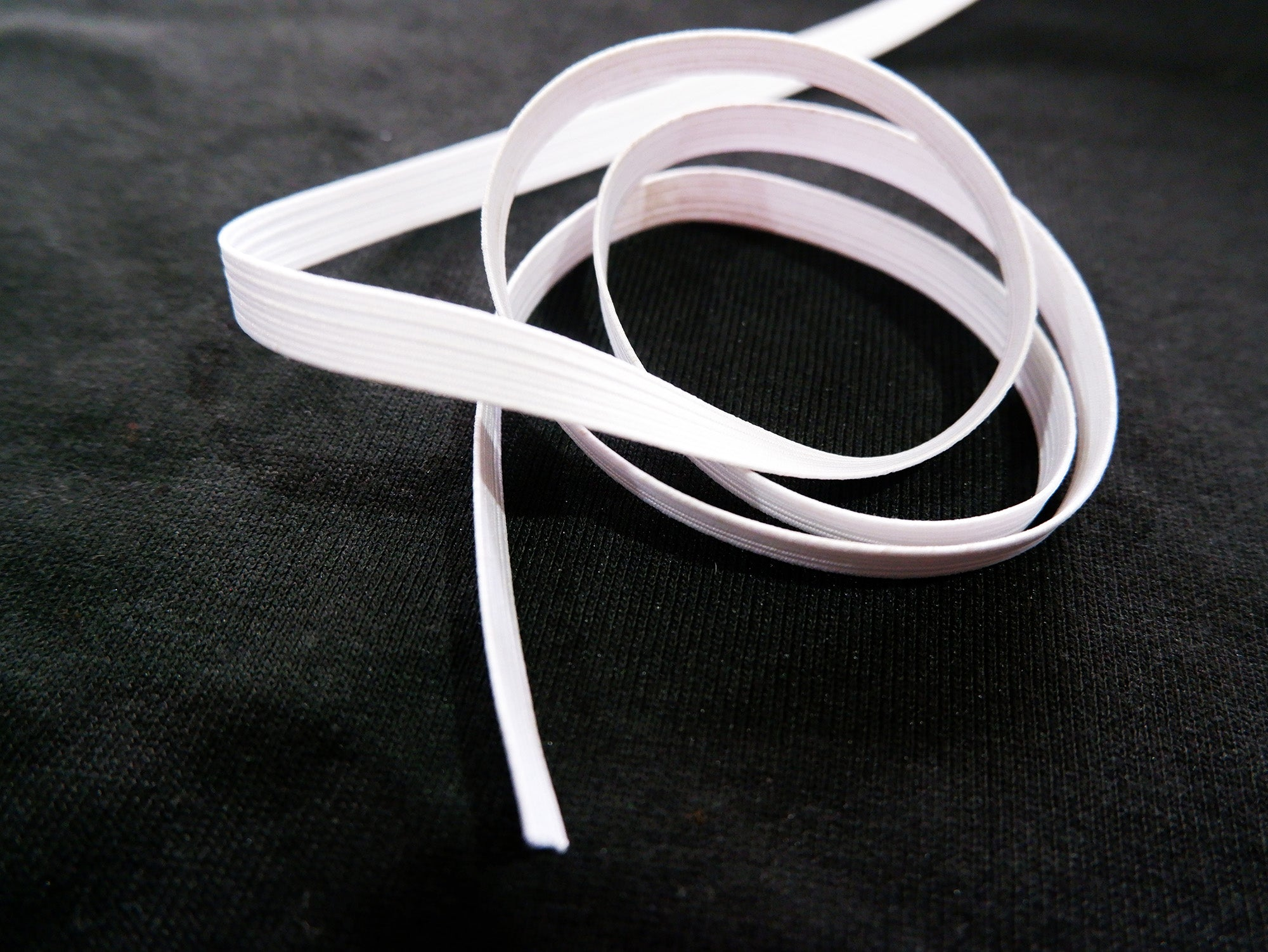 8mm braided elastic, 5 metres, white