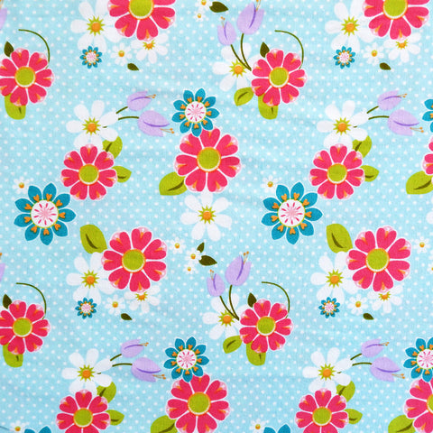 Dream and a Wish Floral Blue Stretch Knit - Price per half metre