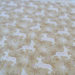 Reindeer and snowflakes Christmas cotton fabric - Price per half metre