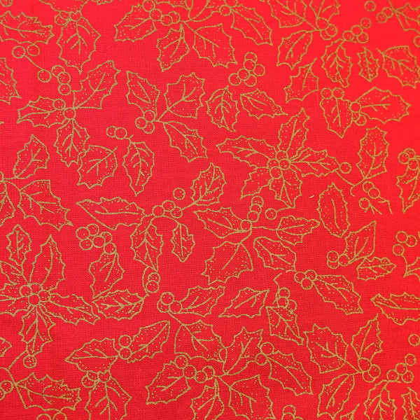 Red and Gold Christmas Holly cotton fabric - Price per half metre