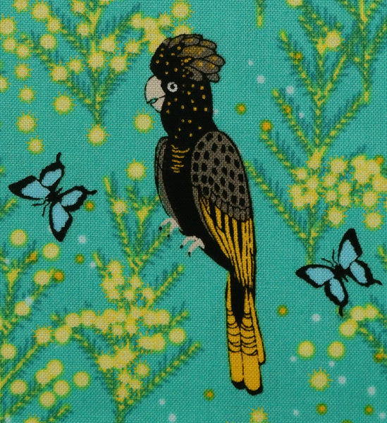 Black cockatoo on turquoise - 100% Cotton - Price per half metre